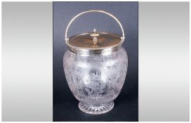 A Fine Etched Glass and Silver Plated Lidded Biscuit Barrel,