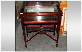 Mahogany Display Curio Cabinet, with glazed bevelled edge top, supported on square tapering legs.