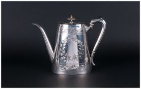 Silver Plated Flattened Oval Coffee or Hot Water Pot, incised leaf garland and band decoration; 8.