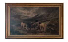 W P Hollyer Large and Impressive Oil on Canvas of Highland Cattle In a Mountainous Valley Drinking