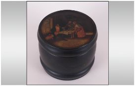 Russian Fedoskino Lacquered And Painted Box Looks To Be From The Vishnyakov Workshop, Keg Shaped,