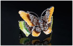 Crystal and Enamel Butterfly Cuff Bangle, the butterfly wings in yellow and caramel, plus two shades