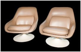 Two Lurashell Lounge Chairs Designed by Michael Inchbald for the QE2 Queens Room, First Class