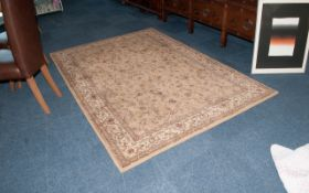 Room Size Wool Rug In Oriental Style. Gold Colour.