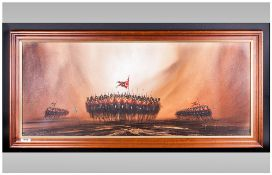Peter Duffield 20th Century Artist Panoramic View Of The Charge Of The Light Brigade' oil on canvas.