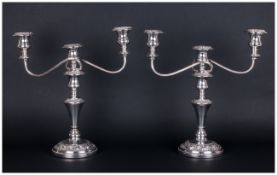 A Fine and Impressive Pair of Silver Plated on Copper 2 Branch Candelabra's / Centrepieces.