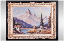 O'Melier Mid 20th Century Austrian Artist Verwall Alps In Distance cabins on a river bank.