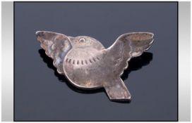 Georg Jensen Denmark Sterling Silver Brooch, Numbered 320, designed as a rotund bird in flight,