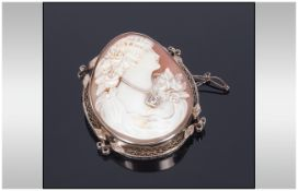 Antique Very Fine Shell Cameo And Diamond Set Brooch The cameo set within a finely made silver