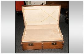 Large Canvas Covered Travelling Trunk wood strips attached with metal hinges, brass lock plates.