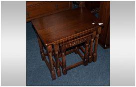Set of Three Oak Jacobean Style Baluster Leg Nest of  Three Tables