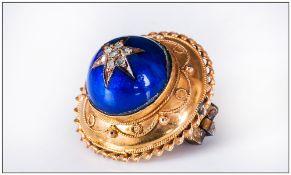 George IV Ornate 15ct Gold Circular Star Set Diamond & Blue Cabochon Cut Stone Brooch, Not marked