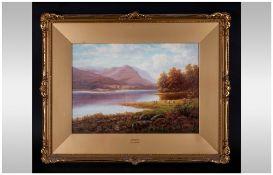 Everet Watson Mellor 1878-1965 - Titled ' Grasmere ' Lake District Oil on Canvas, Signed,