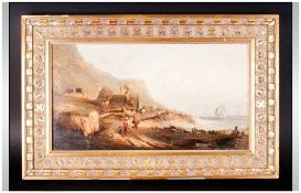 A Fine Early 19th Century Unsigned Oil On Board Of A British Coastal Scene with figures and