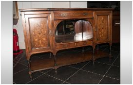 An Edwardian Rose Wood Inlaid Chiffonier Cabinet profusely inlaid to the doors and floral decoration