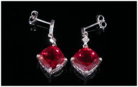 Ruby Colour Quartz and Diamond Drop Earrings, 8.