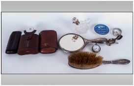 Small Box of Collectable's, Including Silver Plated Hand Brush, Hip Flask, Hand Mirror + others.