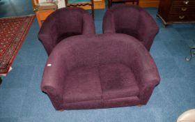 Contemporary Purple Velour Covered Tub Shaped Three Piece Suite comprising settee and two tub