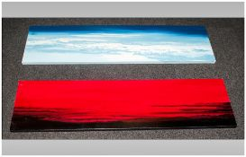 Pair Of Oils On Canvas in the modern style, depicting sunset & sunrise, Signed & Painted by Albert