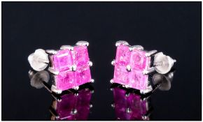 Ruby Square Stud Earrings, each stud of 1ct, the four square cut rubies set closely with one central