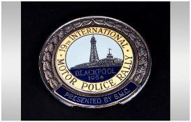 19th International Motor Police Rally Blackpool 1964, Chrome and Enamelled Car Mascot Badge.