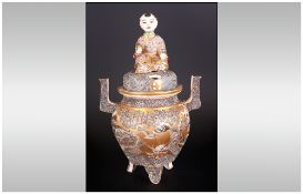 Extremely Fine Quality Japanese Satsuma Type Koro & Lid, finely decorated with coloured enamels