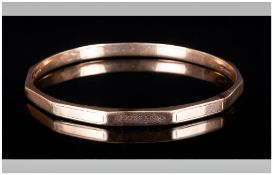 Edwardian - Faceted 9ct Gold Bangle, Marked 9ct. 3 Inches In Diameter. 13.6 grams.