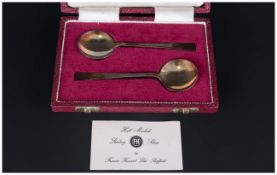 Two Silver Preserve Spoons Hallmarked For Francis Howard 1945, Complete In Fitted Silk Lined Case.