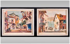 Pair Of Prints Of Valbonne Cap. Ferrat By Doyly John in contemporary white  frames, glazed.