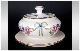 Macintyre Florian Ware Lidded Muffin Dish, Decorated with Images of Garlands, Roses, Forget-Me-