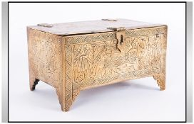 Antique Cairo Brass Engraved Lidded Casket with hinged lock. Wood lined interior, engraved to the