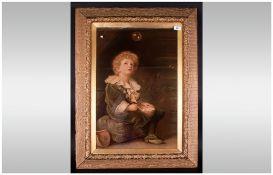 Victorian Print After 'Bubbles' by John Everett Millais. An art print of better quaIity than the