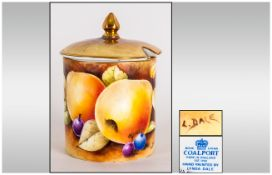 Coalport Hand Painted Lidded Jar, Signed Lynda Dale ' Fallen Fruits ' Pattern. 4 Inches HIgh.
