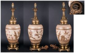 A Very Fine French Ceramic & Brass 19th Century Oil Lamp Converted to electric. Stands 26'' in