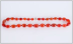 Amber Coloured Glass Bead Necklace, Length 20 Inches