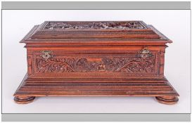 Indian Colonial Antique Sandalwood Writing Box Of The Finest Carving Depicting Elephants With