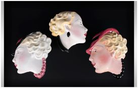 Art Deco Hand Painted Wall Face Masks By Cope & Co. 3 Wall Masks In Total #13. 7.5 & 7'' in