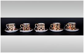Royal Crown Derby Set of 5 Coffee Cups and Saucers. Pattern No.2451, Date 1975. All Pieces are In