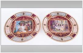 A Pair of Royal Vienna Cabinet Plates, 9.3/4 Inches. Markings on Back. One In Excellent Condition,