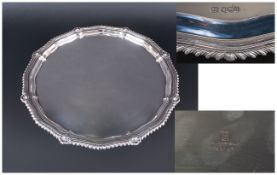 George V - Quality Silver Footed Salver / Tray, with Shell and Pie Crust Border. Hallmark