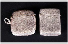 Victorian Silver Hinged Vesta Case with Chased Decoration. Hallmark Birmingham 1899, 1.75 Inches