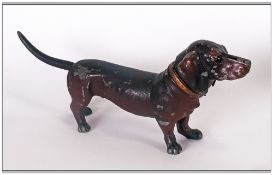 German Cold Painted Metal Petrol Cigarette Lighter In The Form Of A Dachshund Dog, touch the tail
