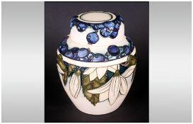 Moorcroft Lidded Ginger Jar 'Juneberry' Design, designer Anji Davenport, Date 2000. 6.25'' in