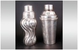 Two Art Deco Silvered Metal Cocktail Shakers, one impressed to the base D&B of Round Cylindrical