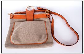Brics Designer Leather Handbag with Tan Leather Shoulder Strap and Interior and Exterior Zipped
