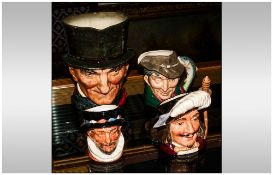 Four Royal Doulton Character Jugs, 1 Large & 3 Small Comprising John Peel 809559, Beefeater D6233,
