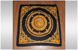 Versace Silk Scarf In Blue And Gold