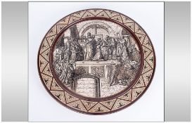 Mettlach/Villeroy & Boch Very Fine Hand Finished Circular Wall Plaque depicts the coronation of