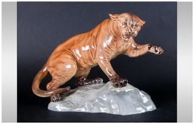 Beswick Wild Animal Figure 'Puma On Rock' Model Number 1702. Designer A.Gredington. 8.5'' in height.
