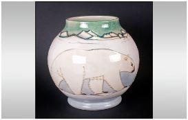 W.Moorcroft Limited & Numbered Edition 'Polar Bear' Globular Shaped Vase, designed by Sally